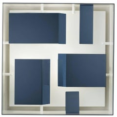 Blue Metal Wall Light Squared Sconce by Gio Ponti