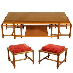 Tommi Parzinger Mid-Century Modern Cocktail Table and Stools