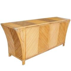 Vintage Mid-Century Baughman Style Bamboo Rattan Credenza Cabinet