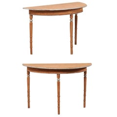 Pair of 19th Century Demilune Tables of Painted Wood in Warm Sunset Tones
