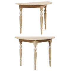 Pair of 19th Century Swedish Painted Wood Demilune Tables on Turned Legs