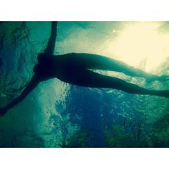 Nude Girl Underwater, Geneva Lake Sun Enlighten, Artwork on Large Canvas