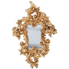 Late 19th Century Italian Carved Giltwood Mirror