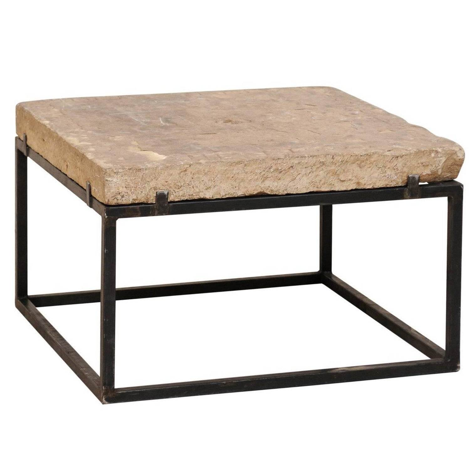 Seagrass Stone Top Coffee Table on Blackened Metal Base For Sale