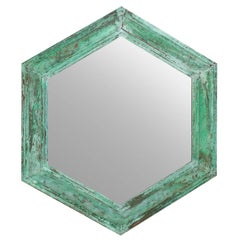 Mid-Century / Vintage Hexagon Shaped Mirror with Great Patina and Green Color