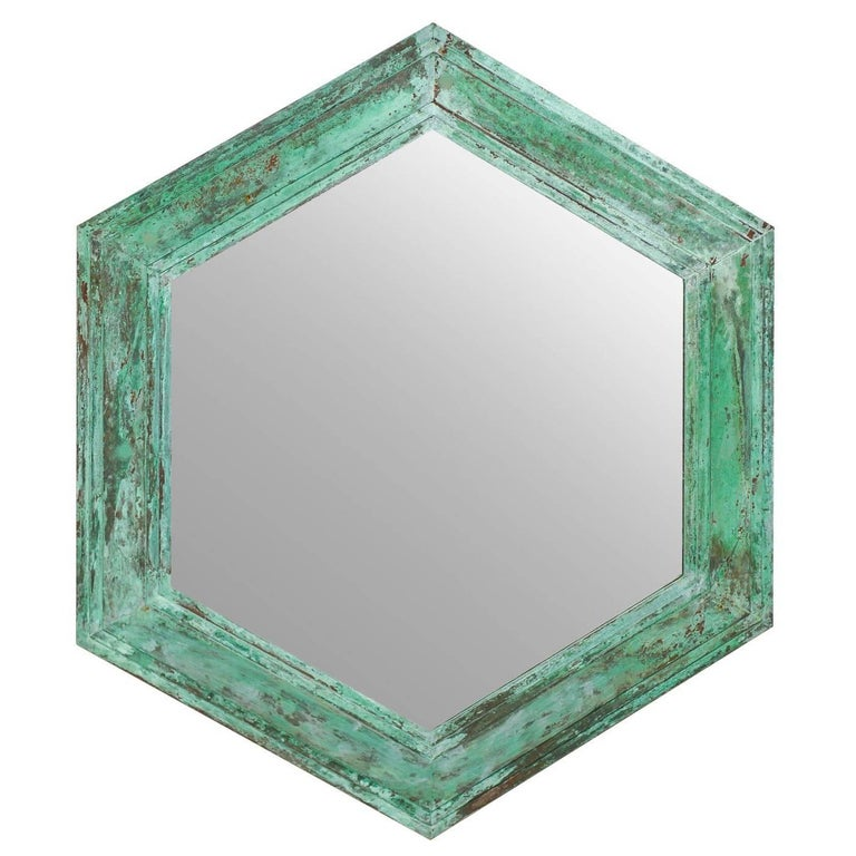 Mid Century Vintage Hexagon Shaped Mirror With Great Patina And Green Color For