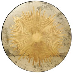 Grand Mirrored Golden Églomisé Sunburst Round Wall Decoration with Antiquing