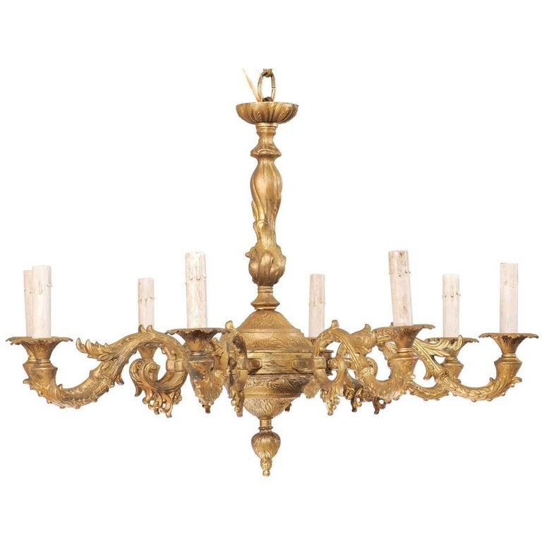 French Eight-Light Painted Metal Chandelier Ornate with Acanthus Leaf Motifs