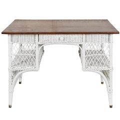 Wicker Desk with Oak Top
