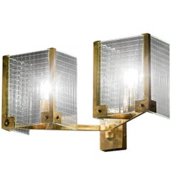 Exquisite Brass and Glass Sconce
