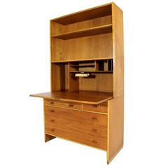 Secretary on Top of Dresser with Drop Front Desk by Hans J Wegner Oak and Teak