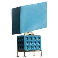Turquoise Brass and Ceramic Table Lamp