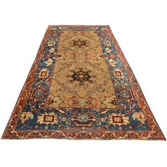 Small Antique Green Agra Rug, India, 19th Century