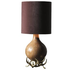 Striking Bronze and Ceramic Table Lamp