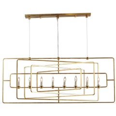 Gilded Eight-Light Wrought-Iron Chandelier with Multiple Layered Rectangles