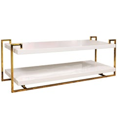 White Lacquer Two-Tiered Coffee Table with Greek Key Inspired Brass Frame
