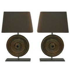 Pair of Industrial Lamps Made from Mounted 18th Century Circular Iron Elements