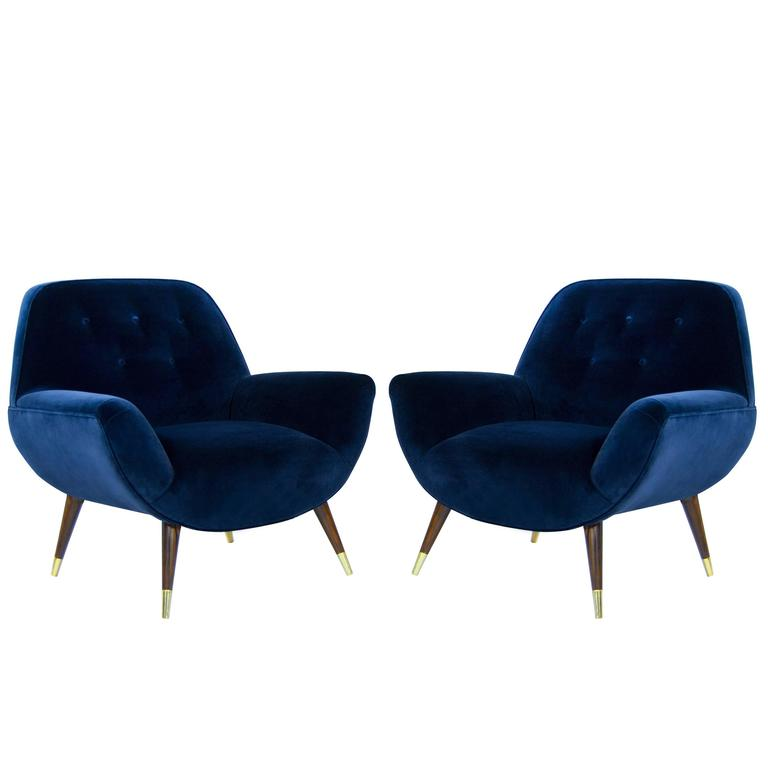 Navy Velvet Club Chair: Navy Blue Velvet Lounge Chairs With Splayed Legs, Italy