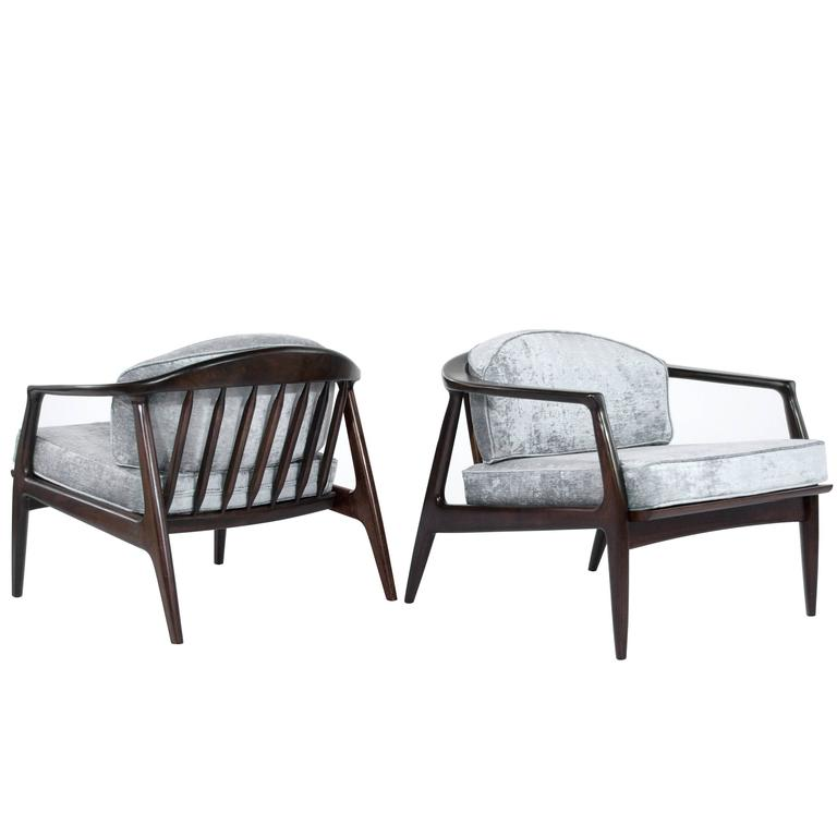 Walnut Lounge Chairs by Milo Baughman for Thayer Coggin