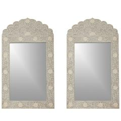 Pair of Paint Decorated and Inlaid Mirrors