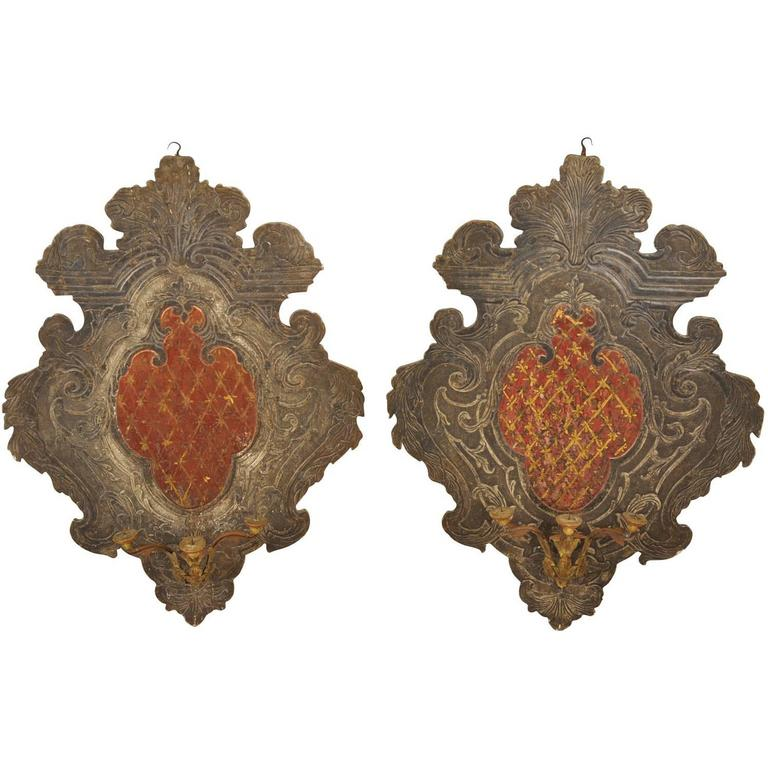 Pair of 18th Century Italian Blasson Appliques, Sconces