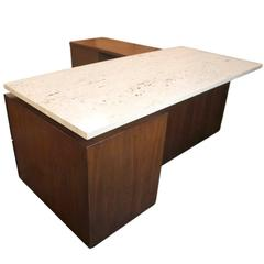 Mid-Century Modern Terrazzo Top Executive Desk from Playboy Offices in Chicago