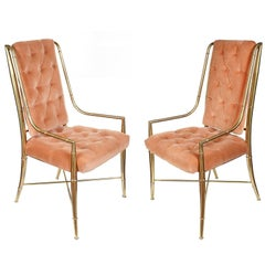 Pair of Mastercraft Brass and Upholstered Side or Dining Chairs