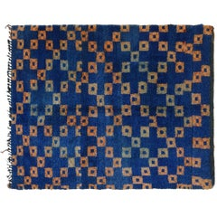 Blue Moroccan Rug with Orange Boxes