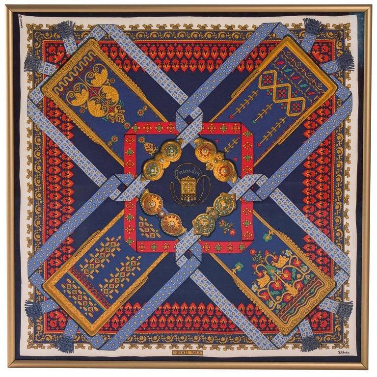 Framed Hermes Silk Scarf For Sale At 1stdibs