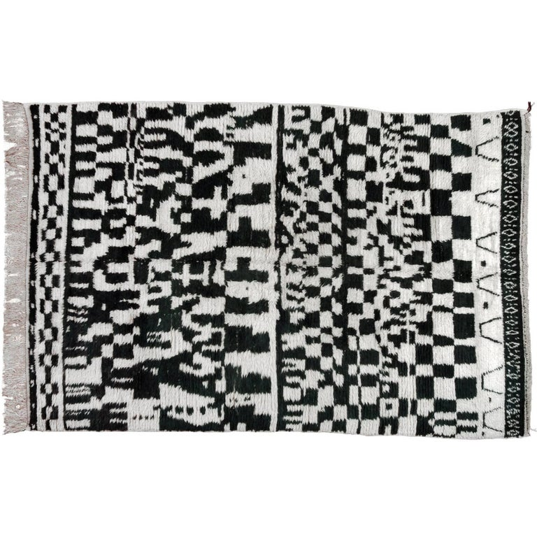 Monochrome Moroccan Rug in Black and White