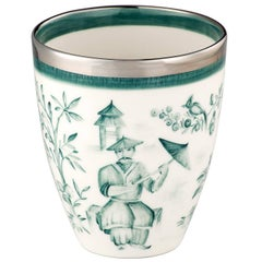 Modern Chinoiserie Hand-Painted Porcelain Vase in Green Sofina Design Germany
