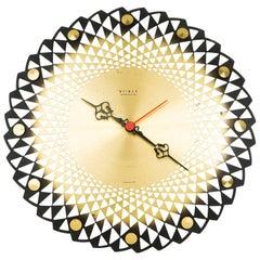 Weimar Electronic Brass Cut-Out Detail Wall Clock, circa 1950