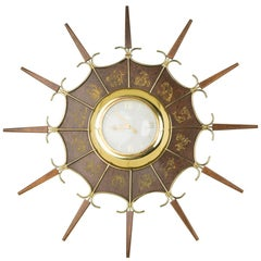 United Embossed Zodiac Sunburst Clock, circa 1950