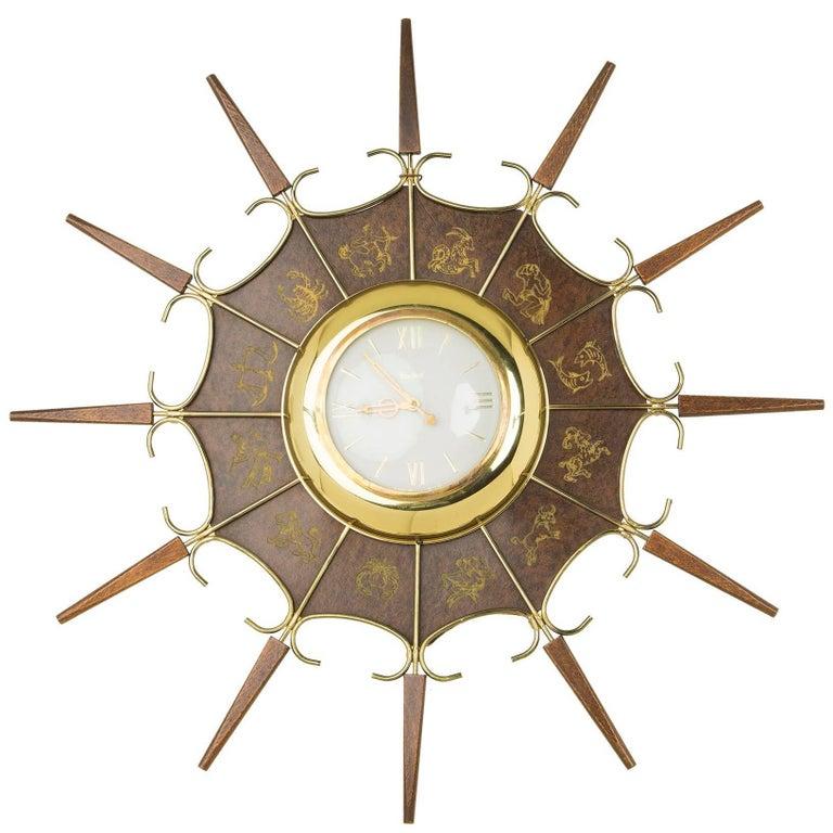 United Embossed Zodiac Sunburst Clock, circa 1950