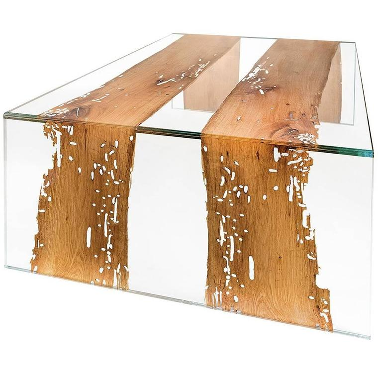 Venezia Glass and Wood Rectangular Coffee Table For Sale
