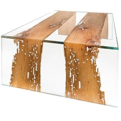 Venezia Glass and Wood Rectangular Coffee Table