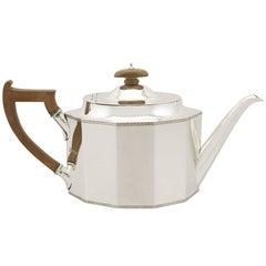 1920s Antique Sterling Silver Teapot by Thomas Bradbury & Sons Ltd