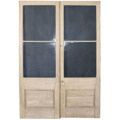 Pair of Glazed Pine French Double Doors