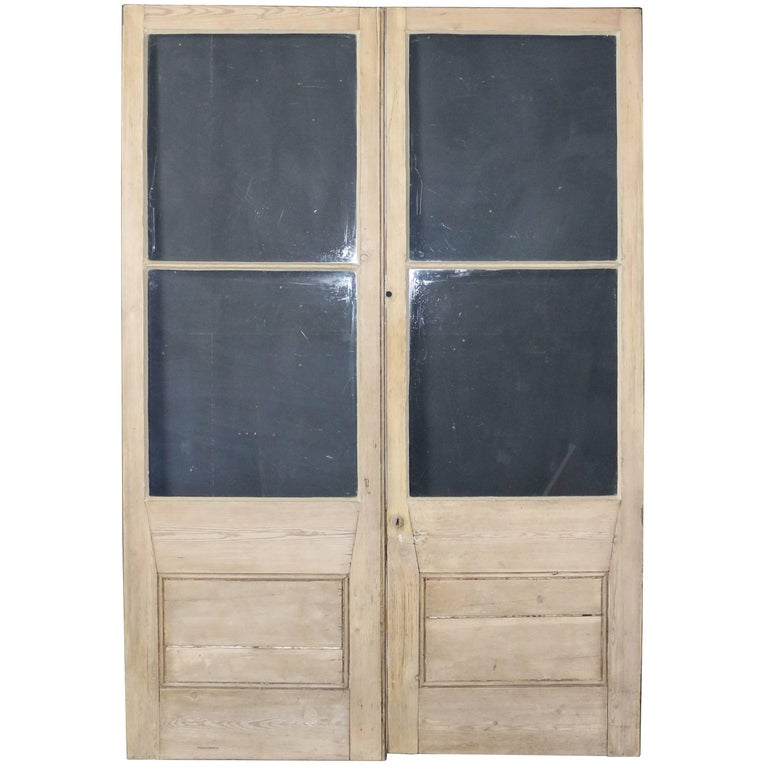 Pair of glazed pine french double doors for sale at 1stdibs for Double french doors for sale