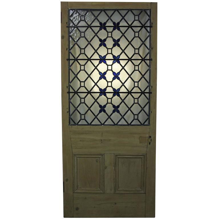 Antique Stained / Leaded Glass Front Door For Sale - Antique Stained / Leaded Glass Front Door At 1stdibs