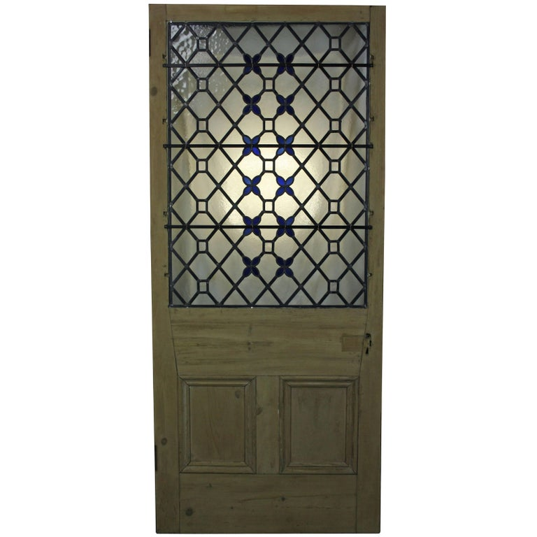 Antique Stained Leaded Glass Front Door At 1stdibs