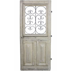 Antique French Oak Front Door with Iron Grills