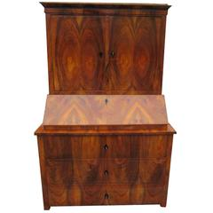 Brown Biedermeier Secretaire with Walnut Veneer