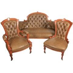 Victorian Inlaid Walnut Leather Three-Piece Suite