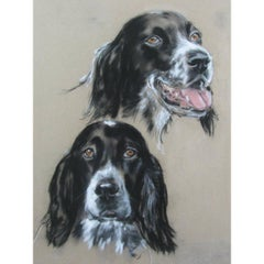 Mid-20th Century English Setter Dogs Portrait, Framed French Drawing on Plywood