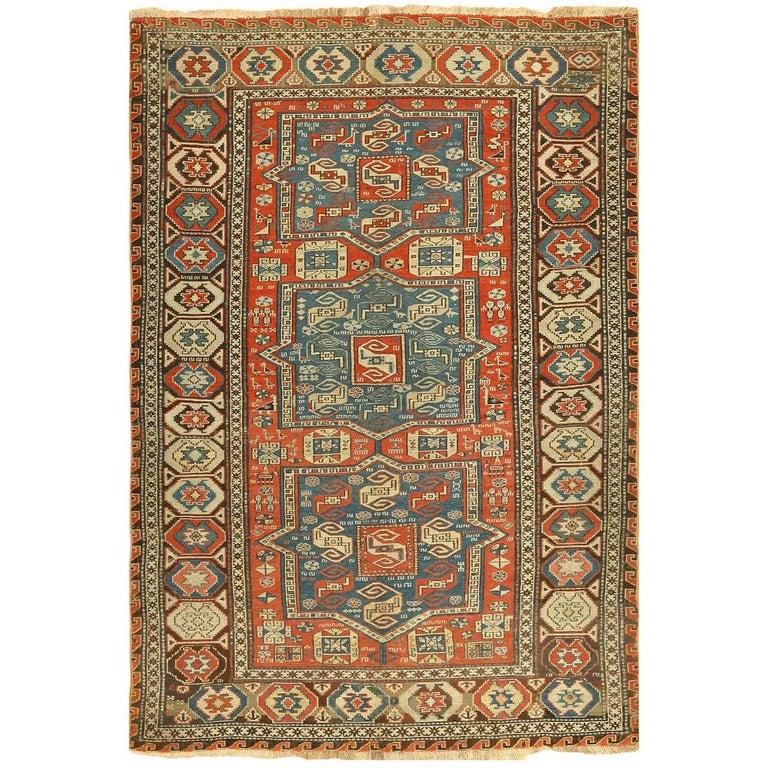 Armenian Antique Rugs: Antique Tribal Soumak Caucasian Rug For Sale At 1stdibs