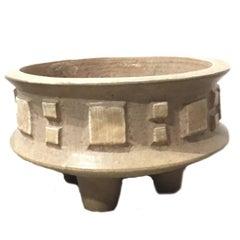 Large Pottery Vessel on Three Legs