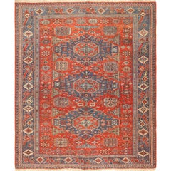 Antique Tribal Soumak Caucasian Rug. Size: 8 ft 3 in x 9 ft 7 in(2.51 m x 2.92 )