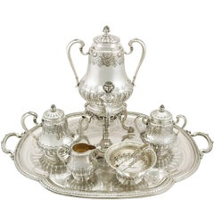1900s French Silver Five-Piece Tea and Coffee Set with Tray