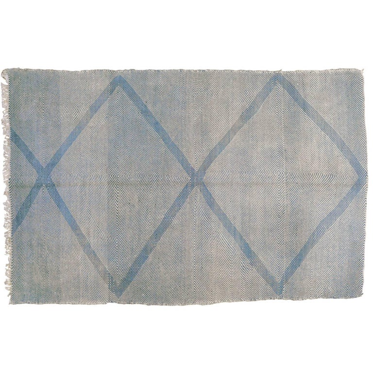 Flat-Weave Moroccan Rug In Blue And Cream For Sale At 1stdibs
